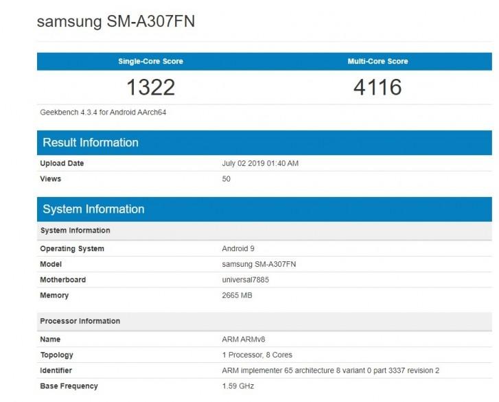 صورة تسريبات Geekbench تكشف عن هاتف جديد من سلسلة A يشار إلى أنه هاتف Galaxy A30e