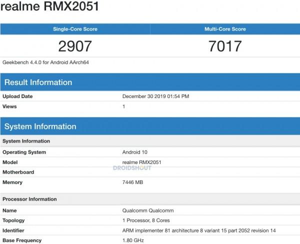 صورة Realme تعتمد كلاً من هاتفي Realme X50 Youth وRealme X50 في Geekbench