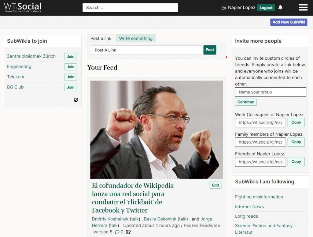صورة مؤسس ويكيبيديا يطلق شبكة اجتماعية بدون إعلانات