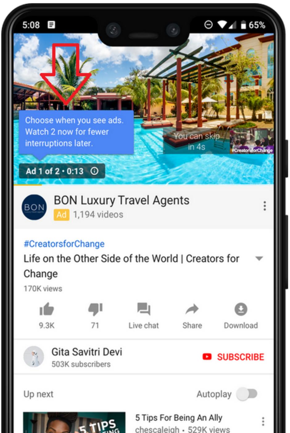 Photo of يوتيوب يختبر الإعلانات المتتالية القابلة للتخطي لتقليل الفواصل الإعلانية أثناء المشاهدة