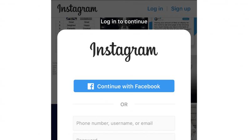 صورة انستجرام تجبر المستخدمين على تسجيل الدخول لعرض المحتوى العام
